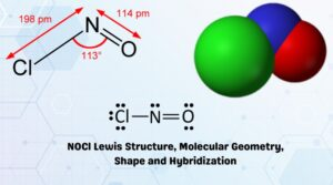 NOCl Lewis structure, Molecular Geometry, Shape and Hybridization (2)